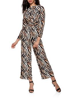 Tiger Striped Crepe Knit Jumpsuit - 3408069393050