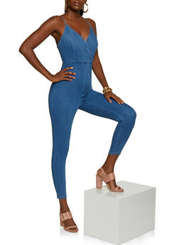 Faux Wrap Cami Denim Jumpsuit - 3408069393054