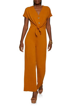 Half Button Ribbed Knit Jumpsuit - 3408069393083