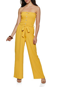 Smocked Button Front Tube Jumpsuit - 3408069395245