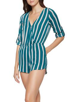 Striped Faux Wrap Romper - 3408069397067