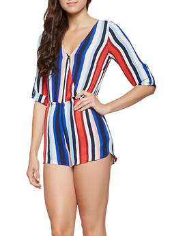 Striped Faux Wrap Romper - 3408069397067