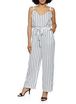 O Ring Detail Striped Jumpsuit - 3408069397140