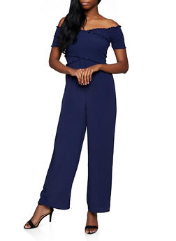 Criss Cross Off the Shoulder Palazzo Jumpsuit - 3408069397323