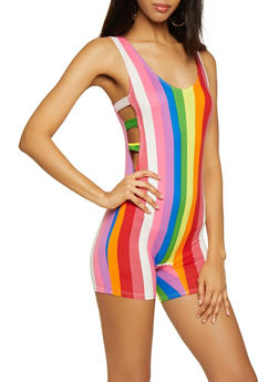 Caged Side Striped Romper - 3408072243001