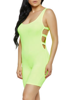 Solid Caged Side Romper - 3408072243115