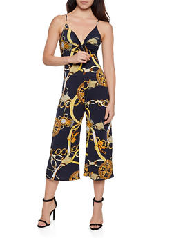 Tie Front Chain Print Gaucho Jumpsuit - 3408075392711