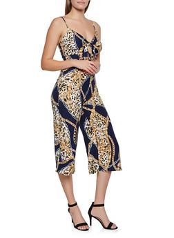 Leopard Status Print Gaucho Jumpsuit - 3408075395588