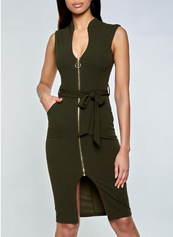 Belted Zip Front Sheath Dress - 3410015990013