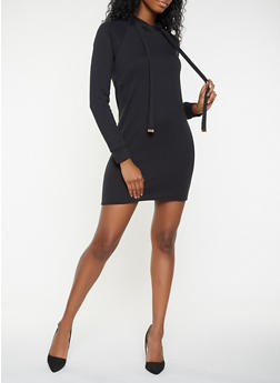Fleece Lined Hooded Sweatshirt Dress - 3410015990115