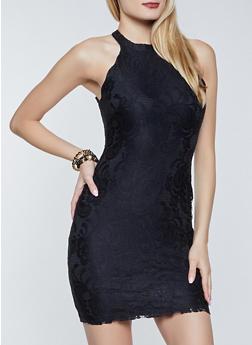 Lace Zip Back Sleeveless Bodycon Dress - 3410015990397