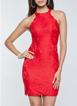 Lace Zip Back Sleeveless Bodycon Dress - 3410015990397