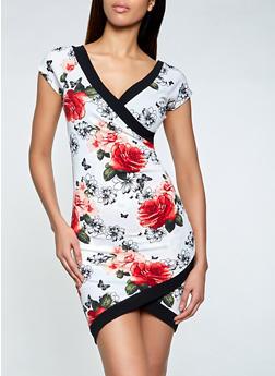 Floral Faux Wrap Asymmetrical Dress - 3410015990826
