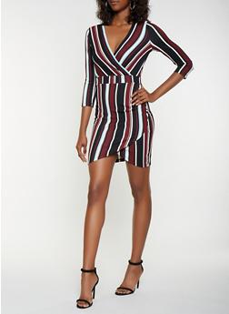 Striped Textured Knit Faux Wrap Dress - 3410015991094