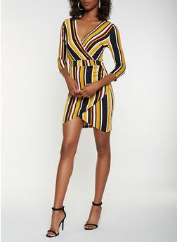 Striped Textured Knit Faux Wrap Dress - 3410015991094