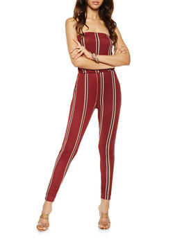 Striped Tube Jumpsuit - 3410015991101