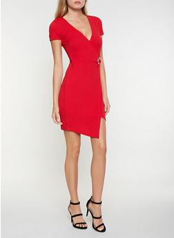 Grommet Detail Faux Wrap Dress - 3410015991609