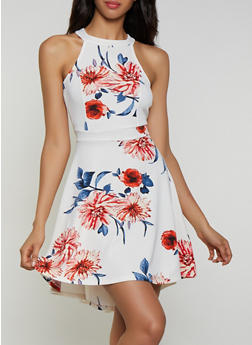 Floral Keyhole Back Skater Dress - 3410015992010