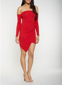 Off the Shoulder Asymmetrical Bodycon Dress - 3410015992094