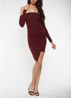 Off the Shoulder Asymmetrical Bodycon Dress - 3410015992094