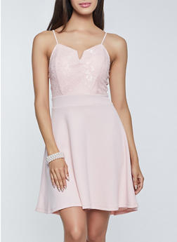 Lace Textured Knit Skater Dress - 3410015992960