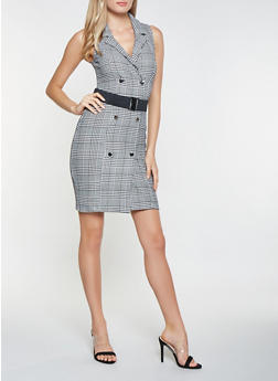 Belted Plaid Blazer Dress - 3410015994800