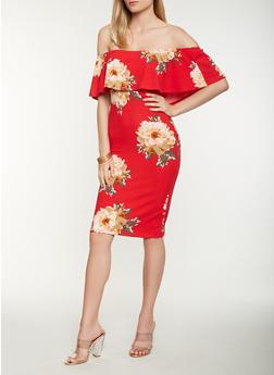 Floral Off the Shoulder Midi Dress - 3410015994925