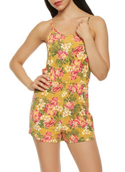 Floral Cinched Waist Romper - 3410015996301