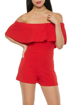 Solid Off the Shoulder Romper - 3410015996394