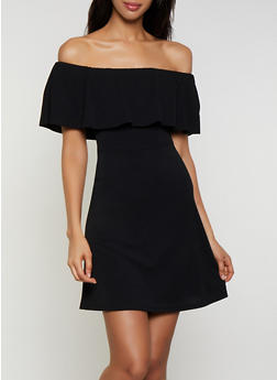 Textured Knit Ruffle Off the Shoulder Dress - 3410015997009