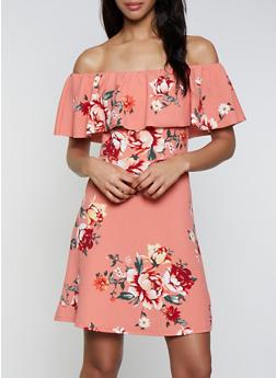 Textured Knit Floral Off the Shoulder Skater Dress - 3410015997010