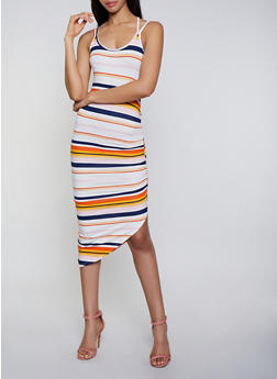Striped Ruched Side Cami Dress - 3410015997137