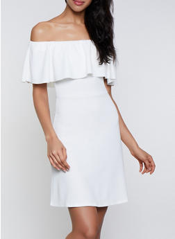 Textured Knit Off the Shoulder Skater Dress - 3410015997262