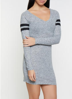 Varsity Stripe Brushed Knit Sweater Dress - 3410015997281