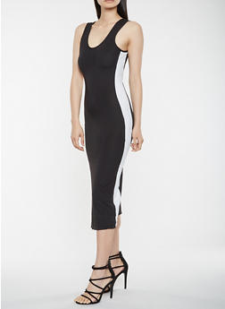 Contrast Side Tank Dress - 3410015997347
