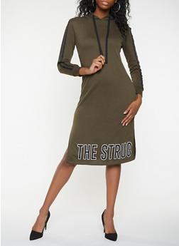 Graphic Hooded Sweatshirt Dress - 3410015997366