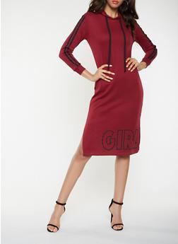 Graphic Hooded Sweatshirt Dress - WINE - 3410015997366