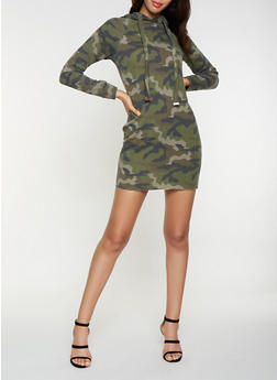 Hooded Camo Sweatshirt Dress - 3410015997397