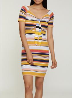 Rib Knit Keyhole Front Bodycon Dress - 3410015997721