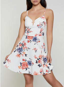 Floral Crepe Knit Skater Dress - 3410015998010