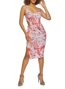 Printed Drawstring Cut Out Bodycon Dress - 3410015998859