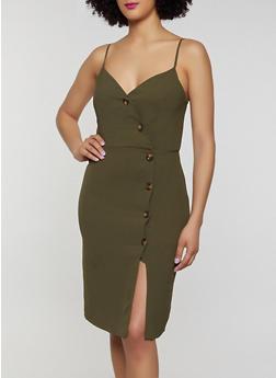 Button Front Bodycon Dress - 3410054211243