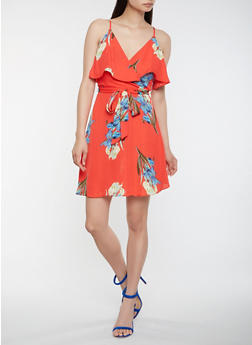 Floral Faux Wrap Dress - 3410054211779