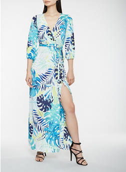 Printed Faux Wrap Maxi Dress - 3410054212798