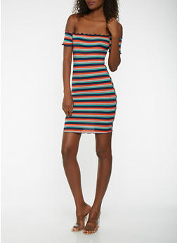 Striped Rib Knit Off the Shoulder Dress - 3410054215657