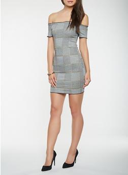 Plaid Off the Shoulder Bodycon Dress - 3410054215674