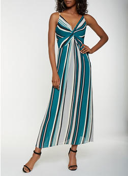Striped Twist Front Maxi Dress - 3410054215677