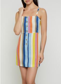 Striped Linen Button Dress - 3410054215734