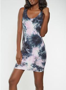 Tie Dye Bodycon Tank Dress - 3410061350478