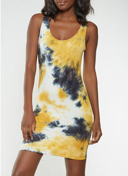 Tie Dye Bodycon Tank Dress - 3410061350478